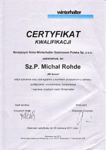 Certyfikat dla Mr-Serwis od Winterhalter